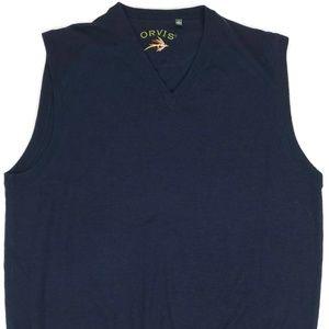 Orvis Merino Wool Lightweight Sweater Vest XL Navy